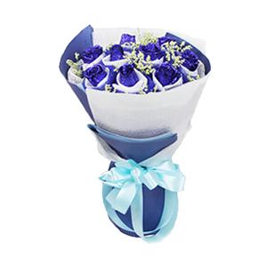 鲜花/转角遇见爱:9枝蓝色妖姬 包 装:精选白色网编内衬、高档深蓝色