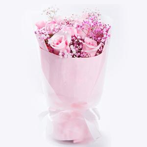 鲜花/公主醉: 9枝精品粉玫瑰(北京、上海、广州、深圳可直接下