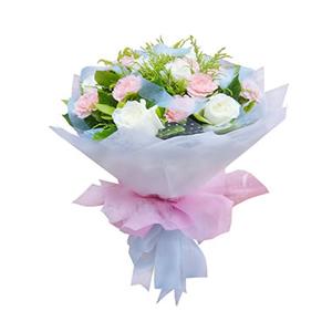 鲜花/暖暖祝福:11枝白玫瑰,11枝粉色康乃馨 [包 装]:玻