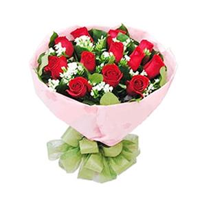 鲜花/浪漫永存: 12支红色玫瑰  [包 装]:粉色皱纹纸圆形