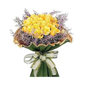 鲜花/青春的气息: 黄玫瑰16枝  [包 装]:卷边布纹纸包装