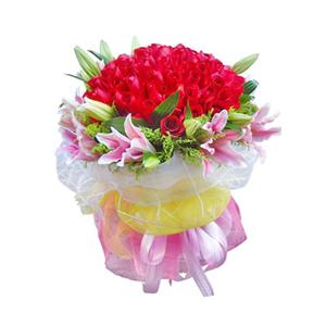 鲜花/痴情不悔:99枝红玫瑰,10枝粉色百合 包 装:白色、黄色、
