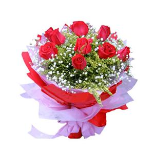 鲜花/相伴一生:9支红玫瑰 包 装:红色、粉色皱纹纸包装、粉色锻带