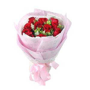 鲜花/浪漫心情: 11枝红玫瑰  [包 装]:浅粉色牛油纸,搭