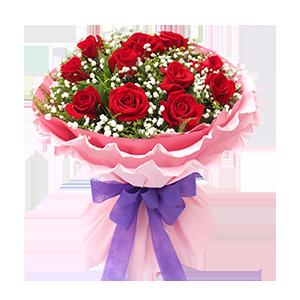 鮮花/寶貝,生日快樂:11枝精品紅玫瑰 配材:滿天星,黃鶯豐滿 花 語: