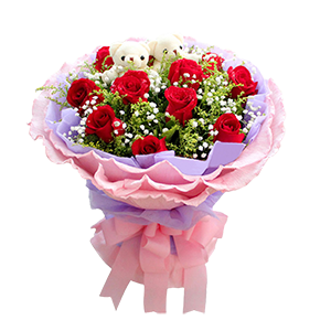 鮮花/老婆,我愛你:11枝紅玫瑰,2只可愛熊仔 配材:滿天星,黃鶯 花