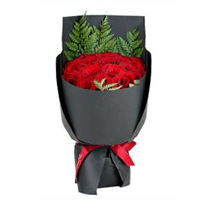 鲜花/贵妃: 19枝精品红玫瑰  [包 装]:铁山灰硬壳纸
