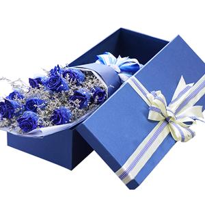 鲜花/蓝色妖姬: 11枝蓝色玫瑰   [包 装]:典雅绸带束扎