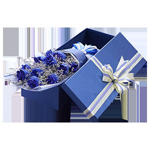 鲜花/蓝色妖姬:11枝蓝色妖姬礼盒装 花 语:忠诚的爱慕,神秘的你