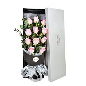 鲜花/爱情甜蜜蜜:11枝精品粉玫瑰,尤加利点缀 花 语:每个人都有一