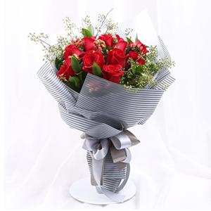 鲜花/就是爱你: 时尚花束,11枝精品红玫瑰  [包 装]:时