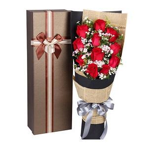 鲜花/爱的气息: 11支红玫瑰+配材  [包 装]:高档礼盒包