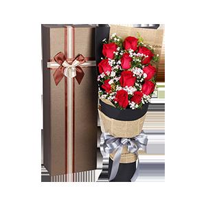 鲜花/爱的气息:11支红玫瑰+配材 花 语:你的呼吸,是爱情的气息