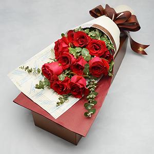 鲜花/浪漫密语: 11枝红玫瑰+尤加利叶点缀  [包 装]:高