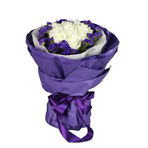 鮮花/和愛相遇:11枝精選等級雪山白玫瑰 配材:紫色勿忘我圍邊 花