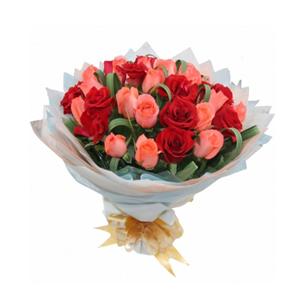 鲜花/心有所属: 21支粉玫瑰,12支红玫瑰  [包 装]:橘