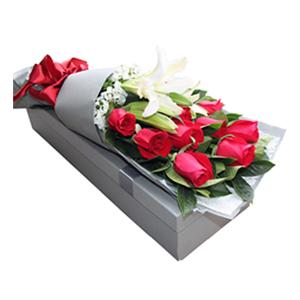 鲜花/白首不相离: 百合玫瑰混搭,11枝精品红玫瑰,一枝多头香水百