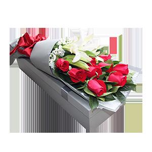 鮮花/白首不相離:百合玫瑰混搭,11枝精品紅玫瑰,一枝多頭香水百合