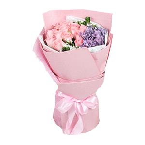 鲜花/粉色情缘: 12枝戴安娜玫瑰,1枝紫色绣球  [包 装]