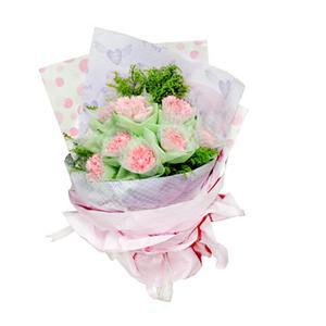 鲜花/祝愿相伴:9支粉色康乃馨 [包 装]:康乃馨内用网纱外用