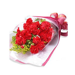 鲜花/温暖的爱:19支红色康乃馨 [包 装]:深红色皱纹纸包装