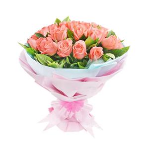 鲜花/懂你: 33枝粉玫瑰  [包 装]:粉色、蓝色瓦楞纸