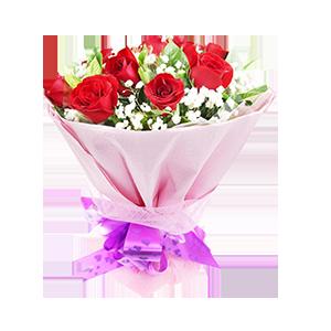 鮮花/那時花開:9枝紅玫瑰 配材:綠葉、滿天星豐滿 花 語:那年花