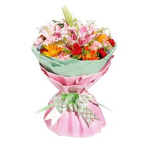 鮮花/溫情時刻:5枝粉色多頭香水百合,10枝粉色康乃馨,8枝紅色康乃
