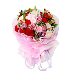 鲜花/幽幽情深 :21支各色康乃馨, [包 装]:粉色棉纸多层圆