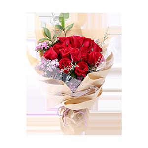 鮮花/寵愛:16枝新鮮精品紅玫瑰,搭配相思梅、綠葉 祝 愿:做
