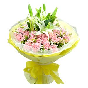 鲜花/温馨时刻: 16支粉色康乃馨,2枝百合  [包 装]:唯