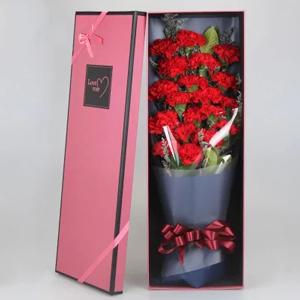 鲜花/感恩密码: 19支红色康乃馨  [包 装]:高档礼盒包装