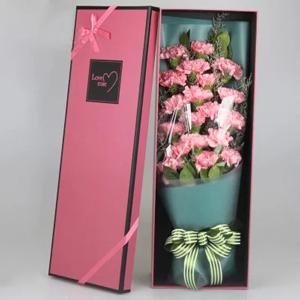 鲜花/幸福绽放: 19支粉色康乃馨  [包 装]:高档礼盒包装