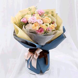 鲜花/国色天香:8枝香槟玫瑰,8枝粉玫瑰 花 语:纯洁如初,国色天