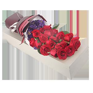 鮮花/我只鐘情你:19枝精品紅玫瑰精美禮盒包裝 祝 愿:至死不渝的愛
