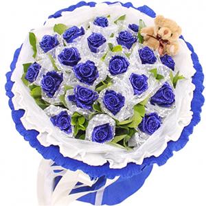 鲜花/爱的承诺:19朵蓝色妖姬,栀子叶间插,随机赠送一只公仔 花