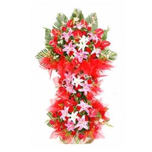 商业用花/满堂红:粉百合 白百合 高级配花 花 语:满堂红