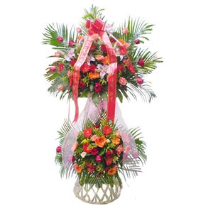 商業用花/祥集德門:粉玫瑰、紅玫瑰、粉色香水百合、各色太陽花、散尾葵