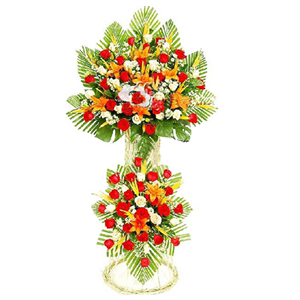 商业用花/财源若海:红玫瑰、白玫瑰、金黄色百合、天堂鸟、小雏菊、散尾