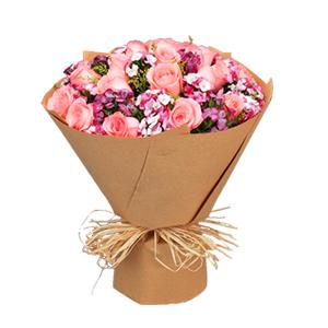 鲜花/小城故事: 19枝精品粉玫瑰  [包 装]:高档牛皮纸包