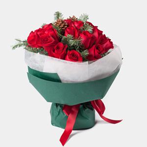 鲜花/欢乐女神: 19枝精品红玫瑰  [包 装]:气质孔雀绿色