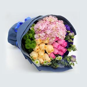 鲜花/亲情与爱情: 9朵香槟玫瑰,9朵粉玫瑰,1支绣球  [包