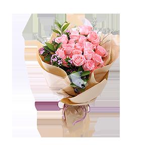 鮮花/萌翻少女心:時尚設計,19枝精品粉玫瑰,情人草、相思梅點綴,綠葉