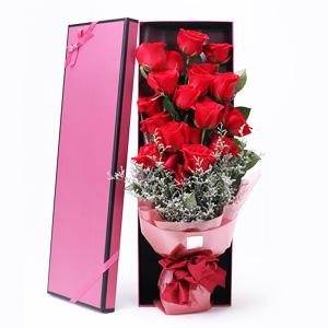 鲜花/情人节快乐: 19枝精品红玫瑰  [包 装]:高档礼盒包装