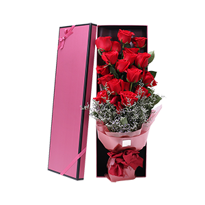 鮮花/情人節快樂:19枝精品紅玫瑰,搭配梔子葉,情人草間插等 花 語