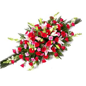 商業用花/好運來:紅玫瑰 粉百合 高級配草 花 語:好運來