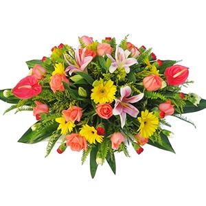 商业用花/大业永昌: 粉色香水百合,粉色玫瑰,黄色扶郎,红掌,红色多