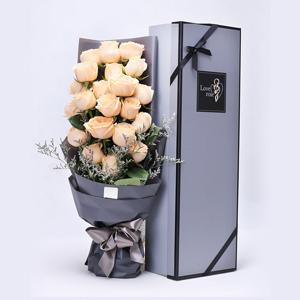 鲜花/高品质礼盒玫瑰: 高品质花束,21枝香槟玫瑰  [包 装]:高