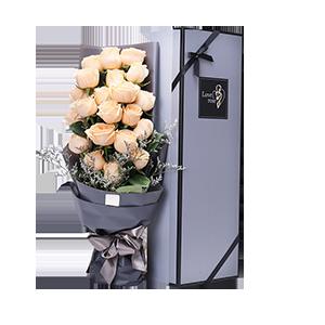 鲜花/最爱特别的你: 高品质花束,21枝香槟玫瑰  [包 装]:高