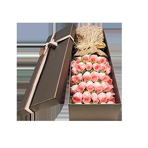 鲜花/很爱很爱你: 29枝粉玫瑰  [包 装]:拉菲草复古束扎,
